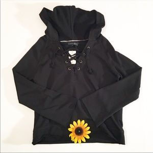 NWT Sanctuary solid black drawstring hoodie small